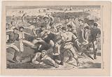 """Holiday in Camp – Soldiers Playing """"Foot-Ball"""" – Sketched by Winslow Homer"""