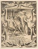 Juno at the right turning and speaking to the Fates, set within an elaborate frame, from the 'Loves, Rages and …