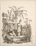 A Seated Chinese Man and a Woman Carrying a Fish