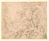Rugged Wooded River Landscape with Travellers on a Road and a Town Beyond