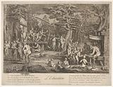 The Education (L'Education): in a forest, to right an old satyr instructor holding a wand, teaching a group of …