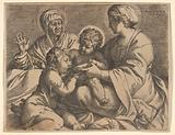 Madonna and Child with Saints Elizabeth and John the Baptist (Madonna della Scodella), the seated Mary and the infant …