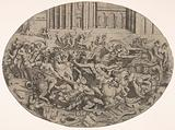 Combat between Amazons and men in front of architectural arcades, an oval composition with weapons, headgear, and …