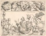 Roman arms, standards, and trophies, a composition divided into two horizontal bands