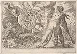 Hercules and the Hydra of Lerna: Hercules grasps his club with both hands and confronts the seven-headed hydra, from …