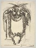 A cartouche formed by drapery and topped with two skeletons atop an Ionic entablature, from 'Nouvelles inventions de …