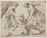 Judith placing the head of Holofernes onto a cloth held by another female figure, the foreshortened body of Holofernes …