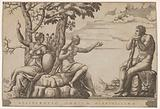 Hercules at the cross-roads, he is seated at the right, to the left are female personifications of Virtue and Vice