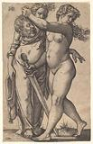 Judith walking to the left with the head of Holofernes in her right hand and a sword in her left hand, her servant …