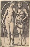 Judith standing to right and holding the head of Holofernes in her right hand and a sword in her left hand, her …