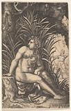 Cephalus and Procris: Procris turns her head over her right shoulder while seated nude in a thicket, Cephalus draws an …