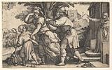 Abraham sending away Hagar and Ishmael: Abraham holds forth a vessel as Hagar and Ishmael stride before him, from the …
