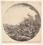 Tempest in a roundel composition, at left waves toss a small ship occupied by seven figures, ships and dark clouds …