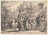 Triumph of Love: four horses draw a carriage with Cupid standing upon a smoking platform, preceded by gods and …