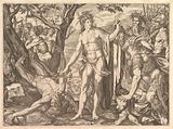 Apollo and Marsyas and the Judgment of Midas: at right Midas with the ears of an ass resting his hand against a tree …
