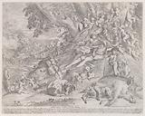Venus and Adonis, surrounded by many putti, reclining after the hunt, with a dead boar in the lower right