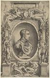 Portrait of Giovanni de' Medici facing right within an elaborate cartouche flanked by Victory at the left and Mars at …