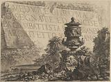 Title-page for the 'Vedute di Roma' comprising a stone in the background inscribed with the title, a classical vase …