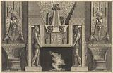 Chimneypiece in the Egyptian style: Giant figures supporting the lintel, flanked by chairs, from Diverse Maniere …