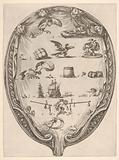 Rébus on the subject of fortune, a riddle depicted on drapery surrounded by a frame, an oval composition