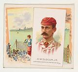 HW Slocum, Jr, Lawn Tennis Champion of New England 1887/88, from World's Champions, Second Series for Allen & Ginter …