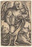Saint Luke with his head turned in profile to the right, a book in each hand, a bull at his feet, from 'The four …