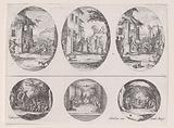 Plate Containing Three Oval Medallions, from Variae tum Passionis Christi tum vitae beatae Mariae Virginis