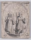 S Cosme et S Damien, martyrs (St Cosmas and St Damian, Martyrs), September 27th, from Les Images De Tous Les Saincts …
