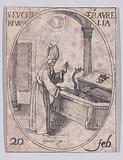 S Eucher, évêque d'Orléans (St Eucherius, Bishop of Orleans), February 20th, from Les Images De Tous Les Saincts et …