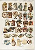 Thirty-one cut-outs from advertising banner for Allen & Ginter Cigarettes
