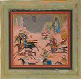 """""""Bazur, the Magician, Raises up Darkness and a Storm"""", Folio from a Shahnama"""