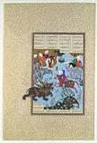 """Bahram Gur Slays the Rhino-Wolf"", Folio 586r from the Shahnama of Shah Tahmasp"