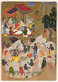 """The Awakening of Kumbhakarna in the Golden City of Lanka"", Folio from a Ramayana"