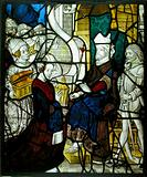 Glass Panel with Solomon Receiving The Queen of Sheba