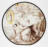 Roundel with Saint John on Patmos with Apocalyptic Vision