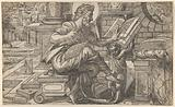 Saint Matthew seated and reading from a book held by a putto, set within a fanciful architectural backdrop, from a …