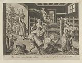 """The Gathering of Mulberry Leaves and the Feeding of the Silkworms, Plate 5 from """"The Introduction of the Silkworm"""" …"""