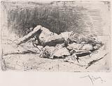A partly naked man on the ground, right arm outstretched