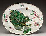 Botanical oval platter with turnip leaf