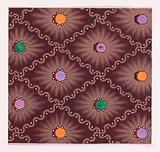 Textile Design with a Pattern of Seamless Lozenges Formed by a Undulating Ribbons with Dots, Decorated with Octagons …