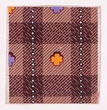 Textile Design with a Tartan Pattern Decorated with Stylized Clovers and Vertical Strips of Pearls