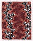 Textile Design with Vertical Undulating Garlands of Pearls Separated by Vertical Strips of Vermicular Pattern over a …