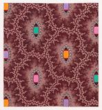 Textile Design with Alternating Vertical Rows of Shuttle Shapes and Pearls Framed by Interlacing Garlands of Branches