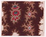Textile Design with Alternating Vertical Rows of Stylized Flowers with Stems and Leaves with Offsetting Branches …