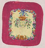 Design for a Chair Back Cover with an Ornamental Frame Formed by a Garland of Leaves and Flowers with an Interlacing …