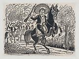 Emiliano Zapata on horseback, scene from the Mexican Revolution