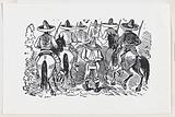 A group of Zapata followers on horseback from a broadside entitled 'Most wonderful miracle by the intercession of Our …