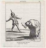 The leapfrog game: Bend your head down! Again! From 'News of the day,' published in Le Charivari, October 20, 1868.