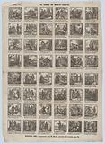 Broadside with 48 scenes from the life of the Count of Monte Cristo