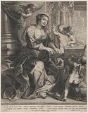 Saint Cecilia playing the organ surrounded by putti